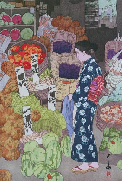 Wall Art - Painting - Nezu Honest Vegetable Store - Digital Remastered Edition by Yoshida Hiroshi