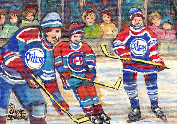 Painting - Nhl Hockey Games From The Forum To Bell Center Hockey Town Montreal Canadiens C Spandau Hockey Art   by Carole Spandau