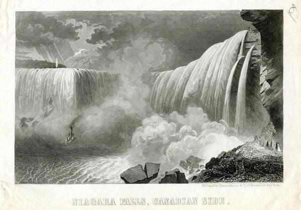 Fall Colors Digital Art - Niagara Falls 1850 To 1899 Canadian Side by Historic Map Works Llc