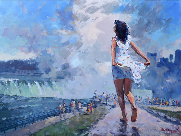Wall Art - Painting - Niagara Mist  by Ylli Haruni