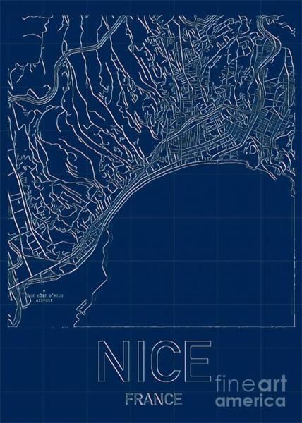 Digital Art - Nice  Blueprint City Map by Helge