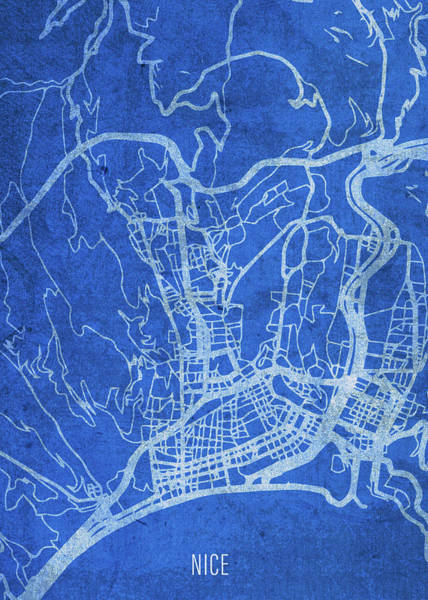 Wall Art - Mixed Media - Nice France City Street Map Blueprints by Design Turnpike