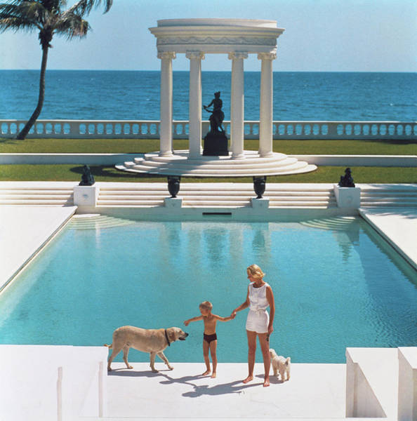 Statue Photograph - Nice Pool by Slim Aarons