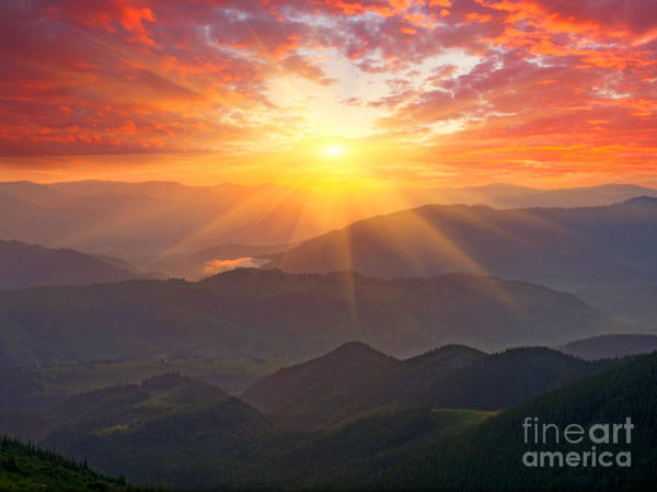Wall Art - Photograph - Nice Sunset Scene In Mountains by Pavel klimenko