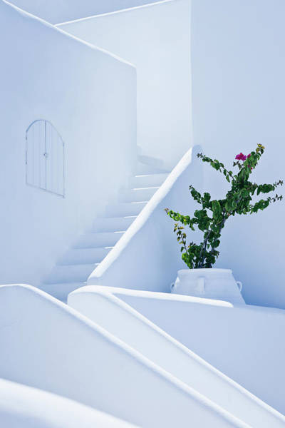 Greek Photograph - Nice White Stairs In Oia Village by Mbbirdy