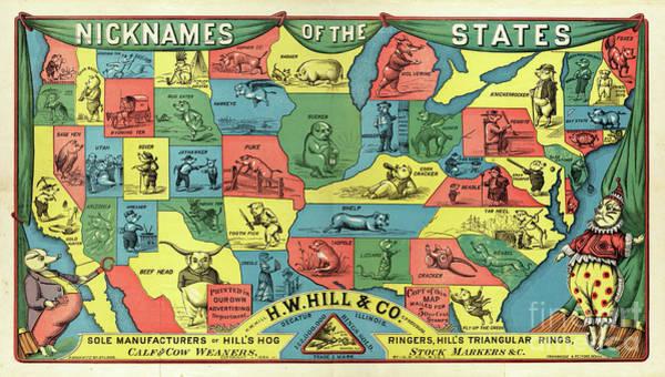 Wall Art - Photograph - Nicknames Of The States Map 1884 by Jon Neidert