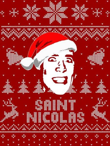 Wall Art - Digital Art - Nicolas Cage Saint Nicolas Christmas Shirt by Filip Hellman