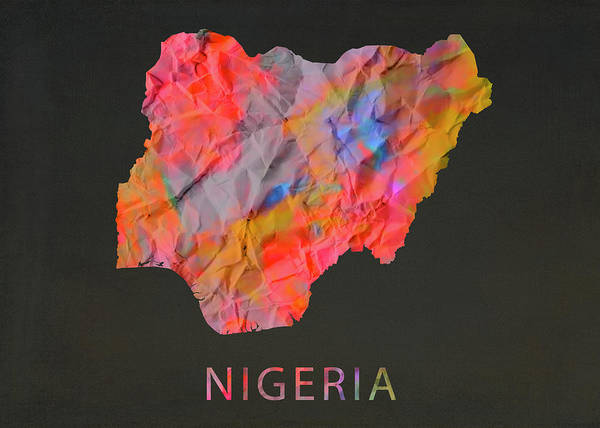 Nigeria Wall Art - Mixed Media - Nigeria Tie Dye Country Map by Design Turnpike