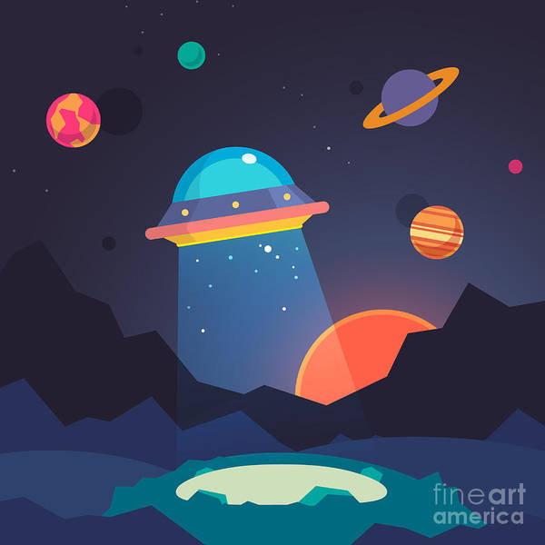 Wall Art - Digital Art - Night Alien World Landscape And Ufo by Iconic Bestiary