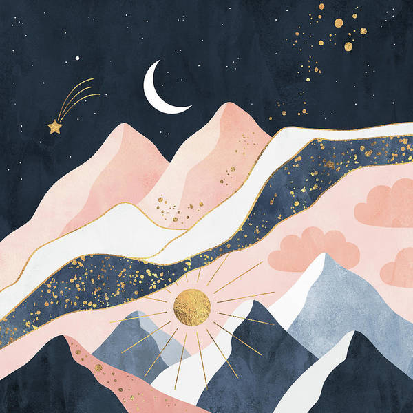 Surreal Landscape Wall Art - Digital Art - Night And Day by Elisabeth Fredriksson