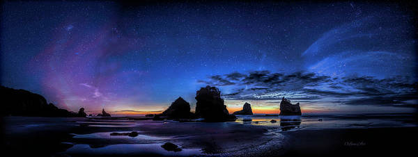 Photograph - Night At Motukiekie Beach Pano In Greymouth West Coast New Zealand By Olena Art by OLena Art