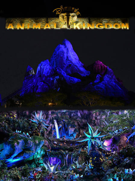 Wall Art - Mixed Media - Night At The Animal Kingdom Poster A by David Lee Thompson