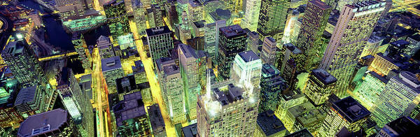 Wall Art - Photograph - Night, Chicago, Illinois, Usa by Panoramic Images