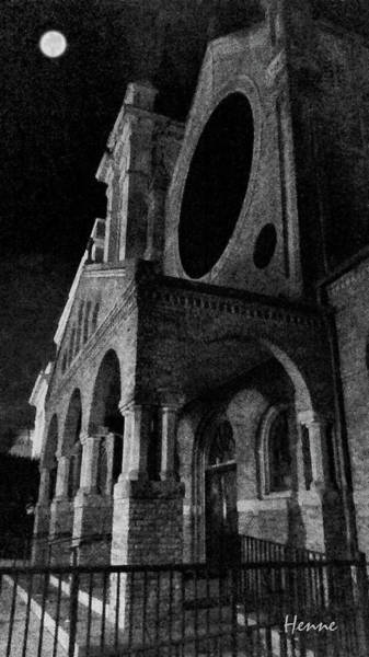 Digital Art - Night Church by Robert Henne