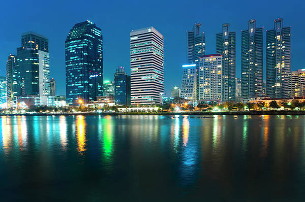 Thailand Photograph - Night City In Thailand by Tanatat Pongphibool ,thailand