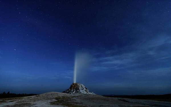 Geysers Photograph - Night Eruption, White Cone Geyser by Don Smith