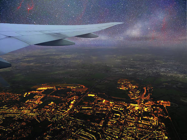 Digital Art - Night Flight Over City Lights by Jason Fink