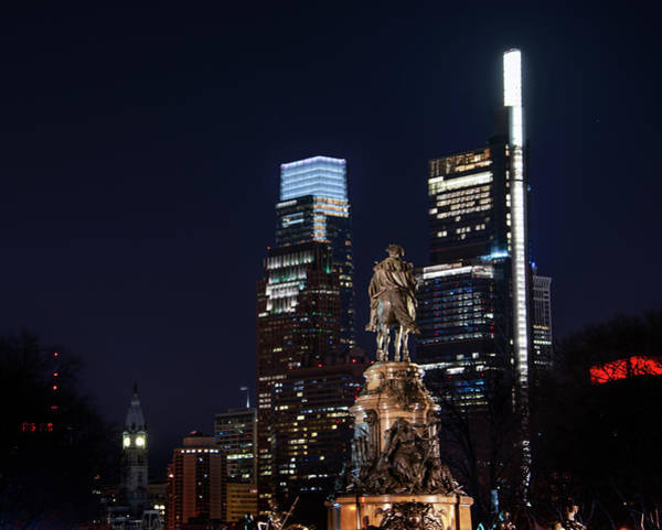 Wall Art - Photograph - Night In Philadelphia - George Washington Looking Over The City by Bill Cannon