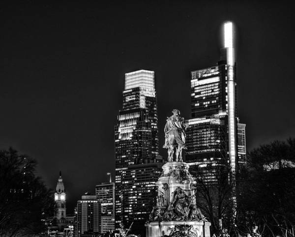 Wall Art - Photograph - Night In Philadelphia In Black And White by Bill Cannon