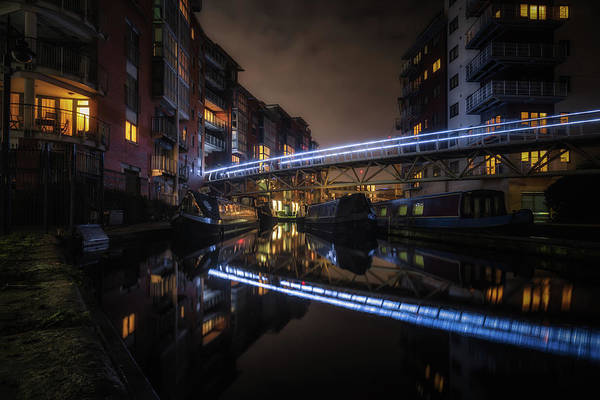Birmingham Wall Art - Photograph - Night In Sherborne Wharf Boat Park by Chris Fletcher