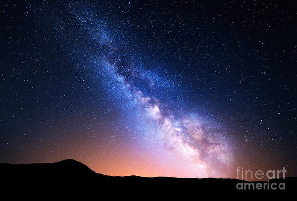 Wall Art - Photograph - Night Landscape With Colorful Milky Way by Denis Belitsky