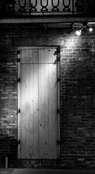Wall Art - Photograph - Night Light On Door In Black And White by Greg and Chrystal Mimbs