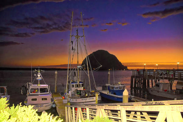 Photograph - Night Lights At Morro Rock  by Floyd Snyder