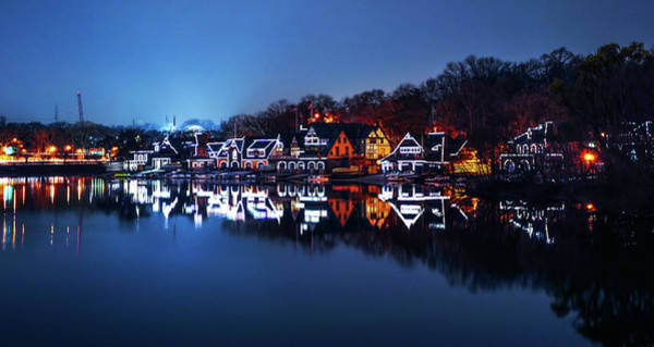Photograph - Night Lights In Philadelphia - Boathouse Row by Bill Cannon