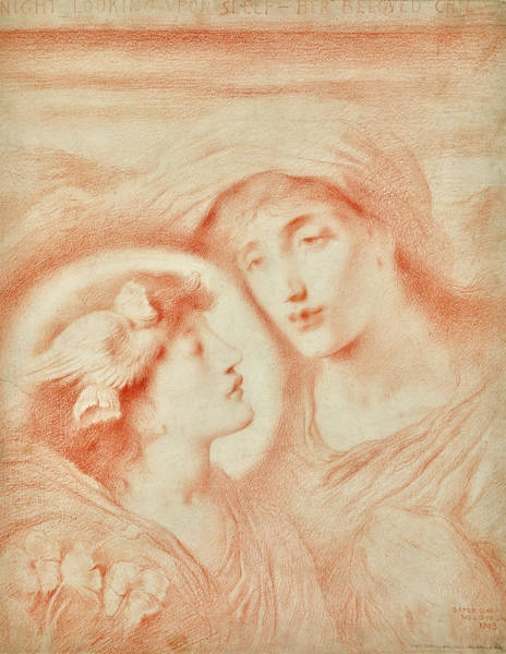 Wall Art - Painting - Night Looking Upon Sleep Her Beloved Child by Simeon Solomon