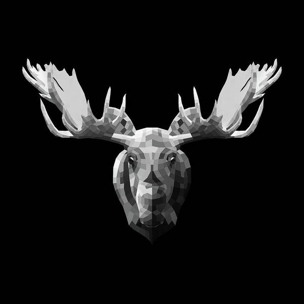 Wall Art - Digital Art - Night Moose by Naxart Studio