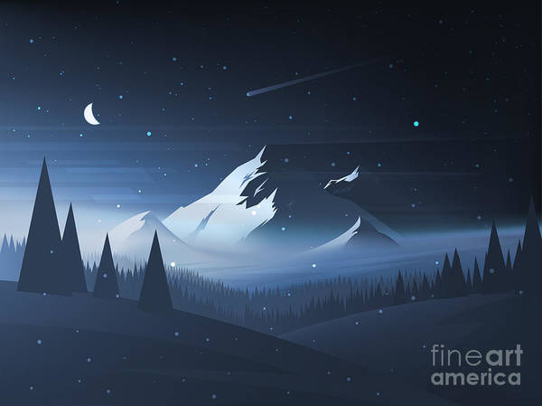 Wall Art - Digital Art - Night Mountain Winter Landscape. Vector by Dmod