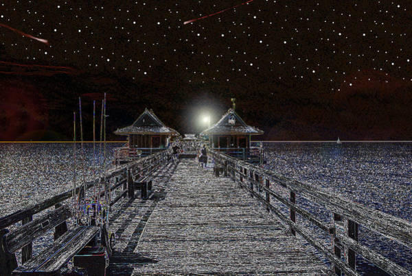 Wall Art - Digital Art - Night On The Naples Pier by David Lee Thompson