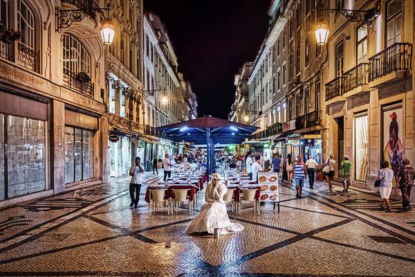 Photograph - Night On The Rua Augusta - Lisbon Portugal by Stuart Litoff