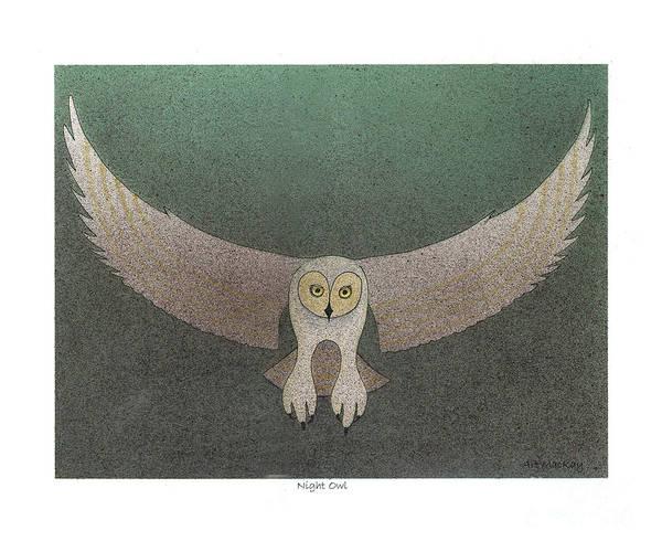 Mixed Media - Night Owl by Art MacKay