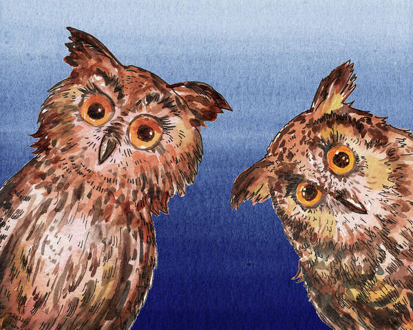 Wall Art - Painting - Night Owls Watercolor  by Irina Sztukowski