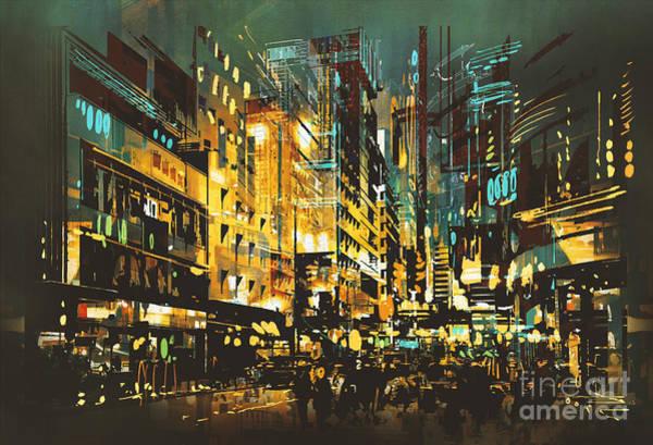 Artist Wall Art - Digital Art - Night Scene Cityscape,abstract Art by Tithi Luadthong