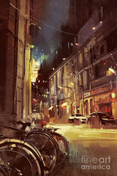 Scenery Digital Art - Night Scene Of A Street In City With by Tithi Luadthong