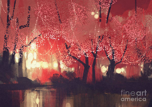 Wall Art - Digital Art - Night Scene Of Autumn Forest,fantasy by Tithi Luadthong