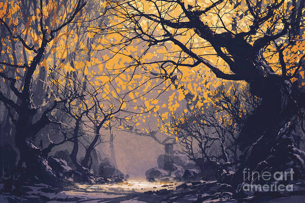 Mystery Digital Art - Night Scene Of Autumn Forest,landscape by Tithi Luadthong