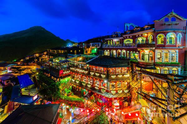 Wall Art - Photograph - Night Scene Of Jioufen Village, Taipei by Richie Chan