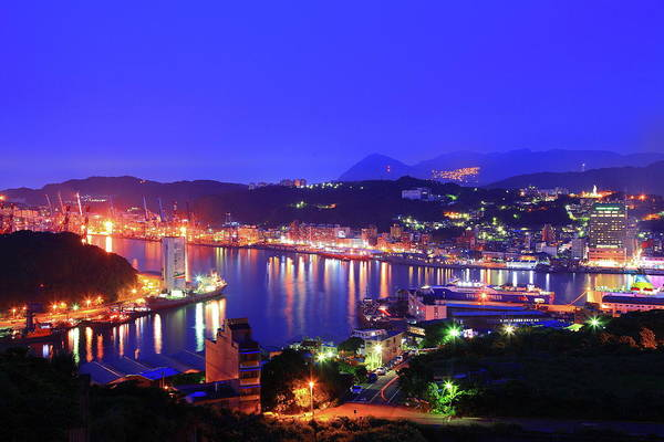 Wall Art - Photograph - Night Scene Of Keelung Harbor In Taiwan by Copyrighted © Tsung-heng, Chen (elf0724)