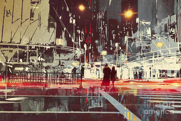 Wall Art - Digital Art - Night Scene Of Modern City by Tithi Luadthong
