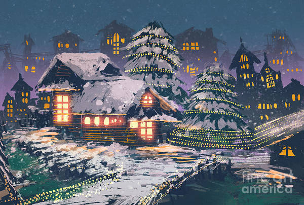 Exterior Wall Art - Digital Art - Night Scene Of Wooden Houses With by Tithi Luadthong