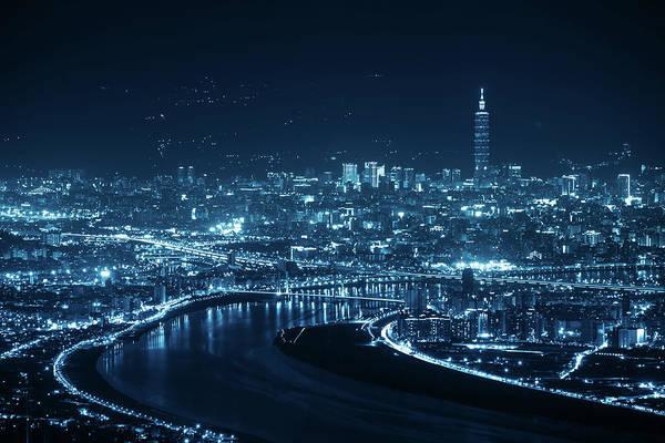 Taiwanese Wall Art - Photograph - Night Scenes Of The Taipei City, Taiwan by Wan Ru Chen