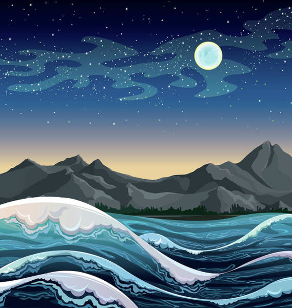 Wall Art - Digital Art - Night Sea With Waves And Mountains On A Starry Sky With Full Moon. - Vector  by Caids Ados