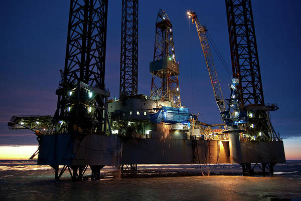 Offshore Wall Art - Photograph - Night Shift On Oilrig by Jens Auer