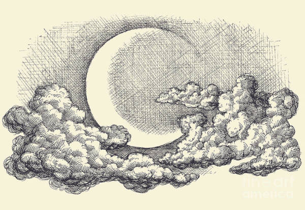 Night Sky Vector, Moon In The Clouds Art Print