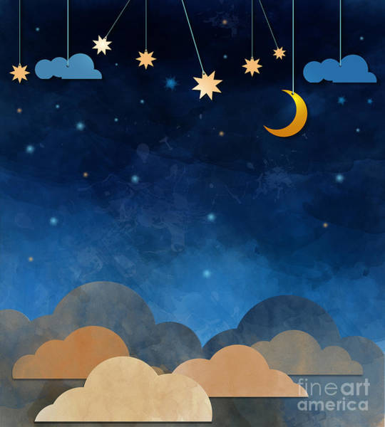 Dark Blue Digital Art - Night Sky,cloud, Moon And Star - Paper by Pluie r