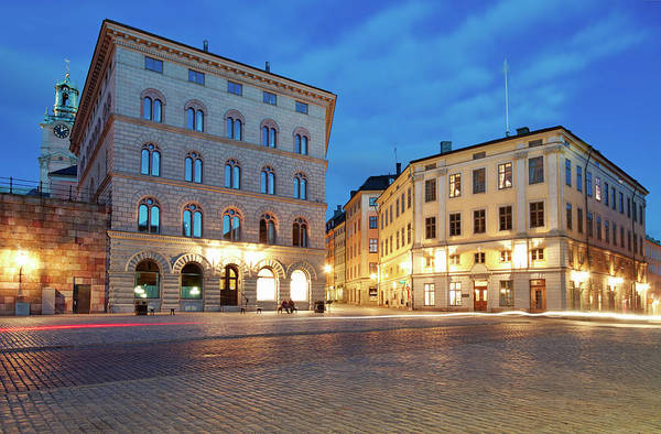 The Clock Tower Photograph - Night Stockholm, Sweden by Rusm