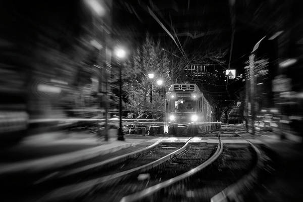 Photograph - Night Train - Boston T Stop by Joann Vitali